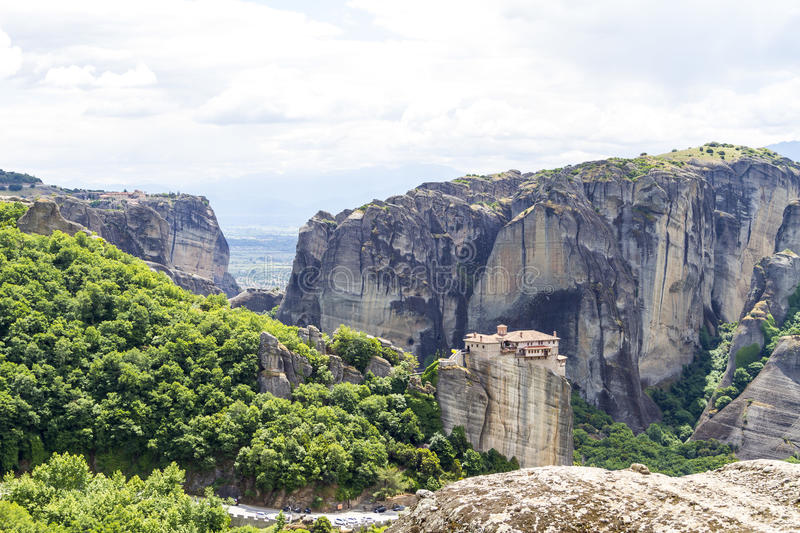 Meteora monasteries, incredible sandstone rock formations. stock image