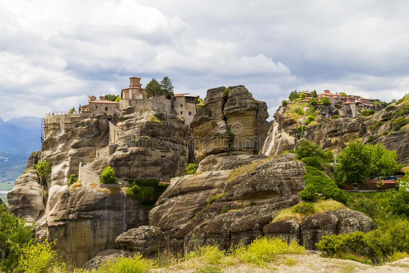 Meteora monasteries, incredible sandstone rock formations. stock photos