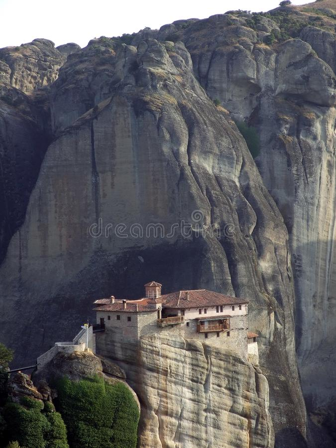 The Meteora monasteries a unique form of human builder. A unique mystical tale of Orthodox soul and magic between heaven and Earth begins right here royalty free stock photography