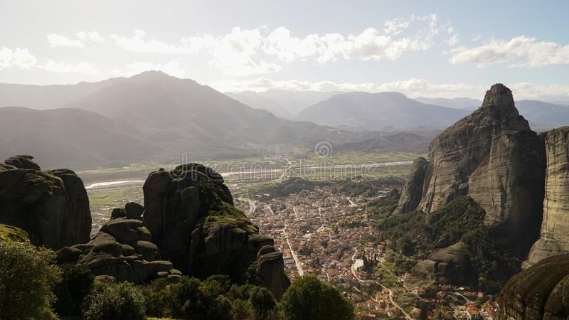 Meteora mountains and rock monasteries in Greece. stock photography