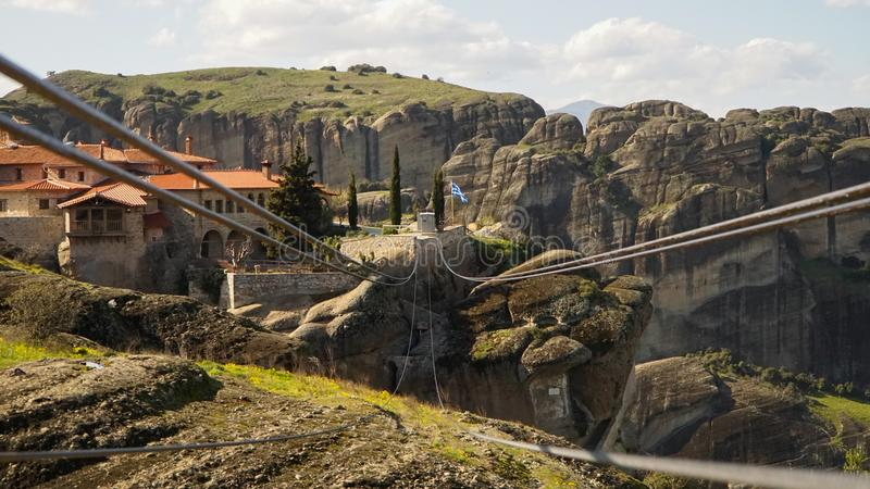 Meteora mountains and rock monasteries in Greece.  royalty free stock image