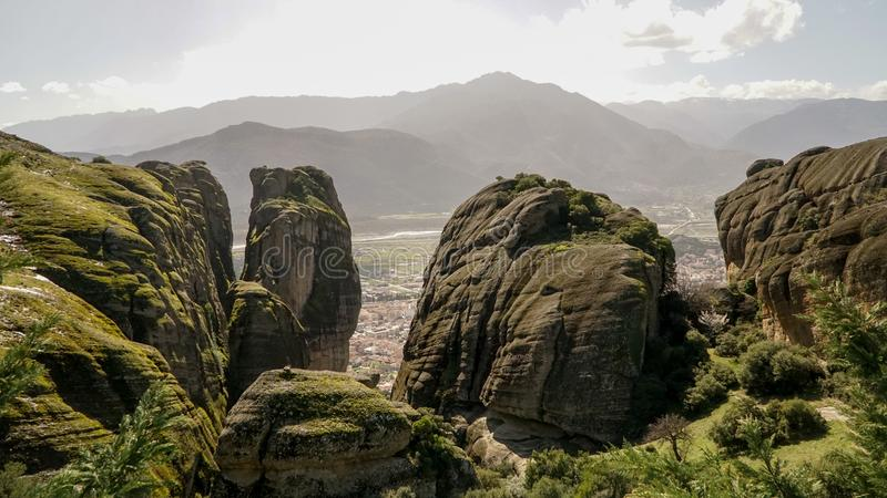 Meteora mountains and rock monasteries in Greece.  stock images