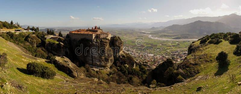 Meteora mountains and rock monasteries in Greece.  stock photos