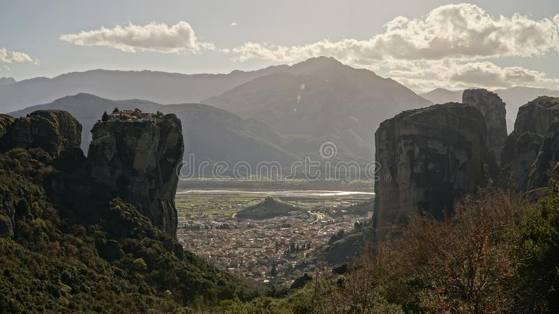 Meteora mountains and rock monasteries in Greece.  royalty free stock images