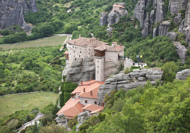 Meteora Rusanov-Kloster (St. Barbara) Griechenland stockfotos