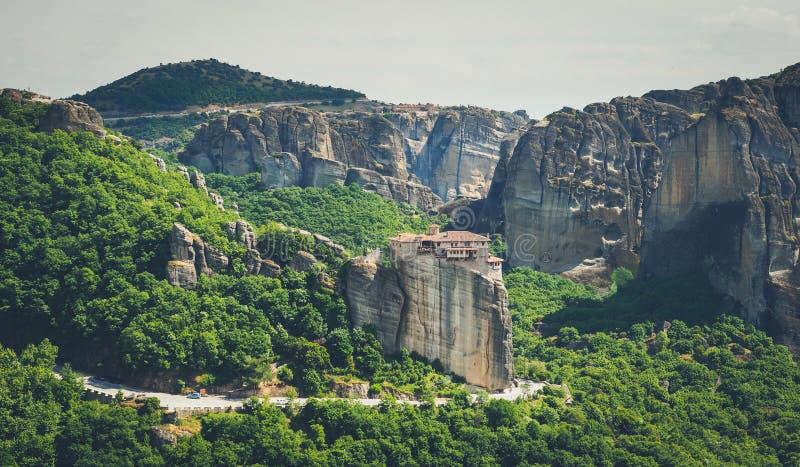 Meteorakloosters in Griekenland, Kalambaka-gebied, Thessaly Panor stock afbeeldingen