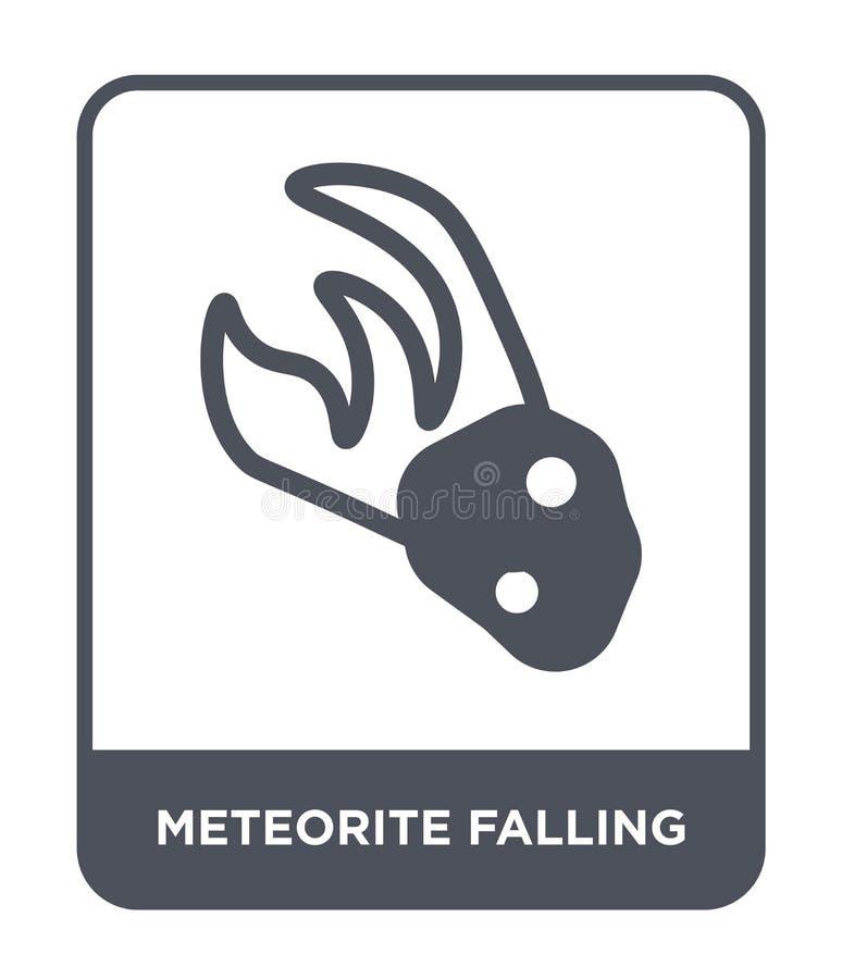 meteoriet dalend pictogram in in ontwerpstijl meteoriet dalend die pictogram op witte achtergrond wordt geïsoleerd meteoriet dale royalty-vrije illustratie