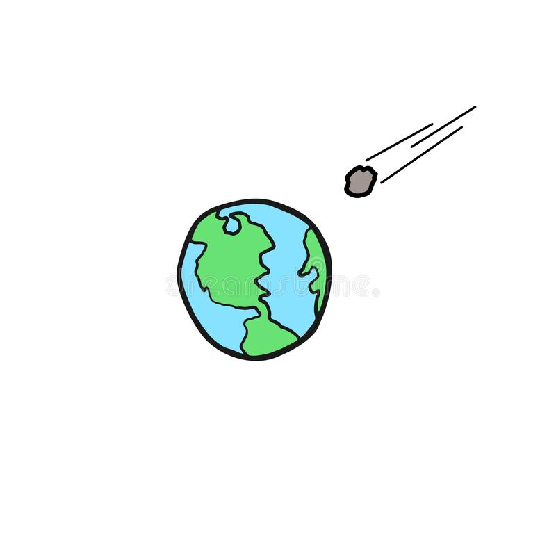 Meteoriet die in de aarde vallen vector illustratie