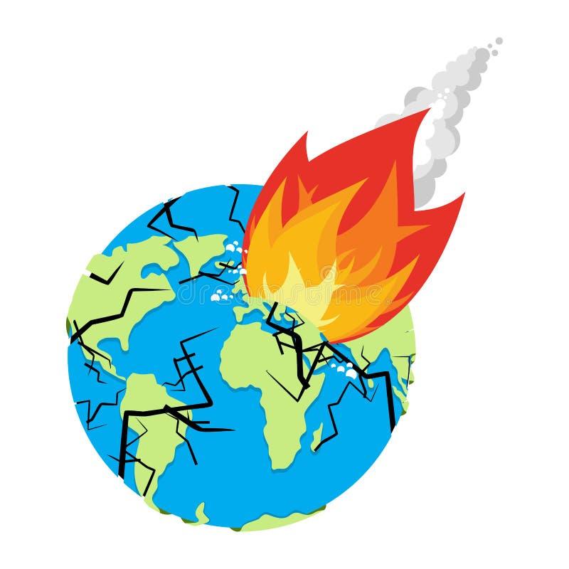 Meteoriet verpletterende Aarde De planeet is in gevaar armageddon en Di stock illustratie