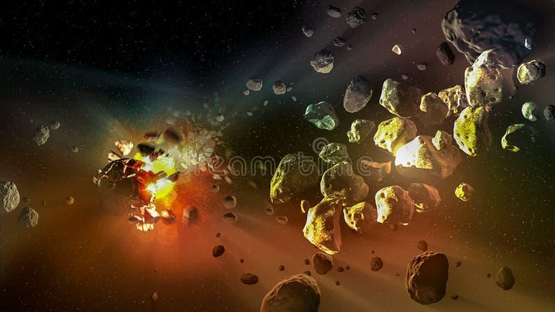 Meteorieten in een diepe ruimte vector illustratie