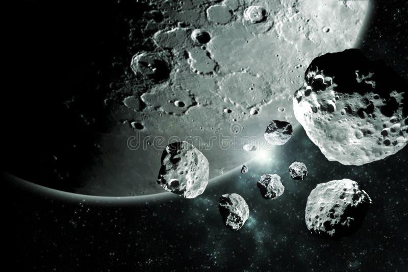 Meteorietenstukken van het maan Diepe ruimtebeeld, het ideaal van de science fictionfantasie voor behang en druk Elementen van di royalty-vrije illustratie