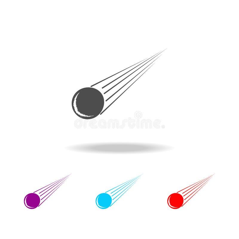 Meteorietpictogram Elementen van ruimte in multi gekleurde pictogrammen Grafisch het ontwerppictogram van de premiekwaliteit Eenv stock illustratie