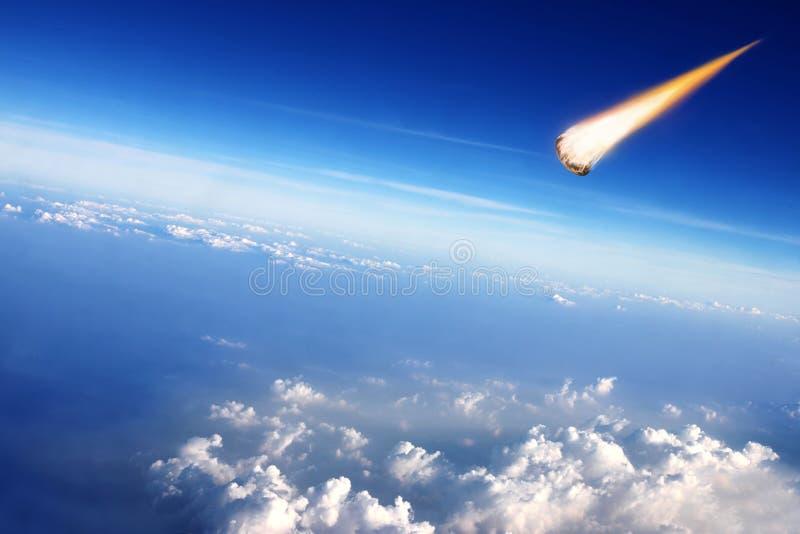 Meteorit stoßen mit der Erde zusammen stockfotos