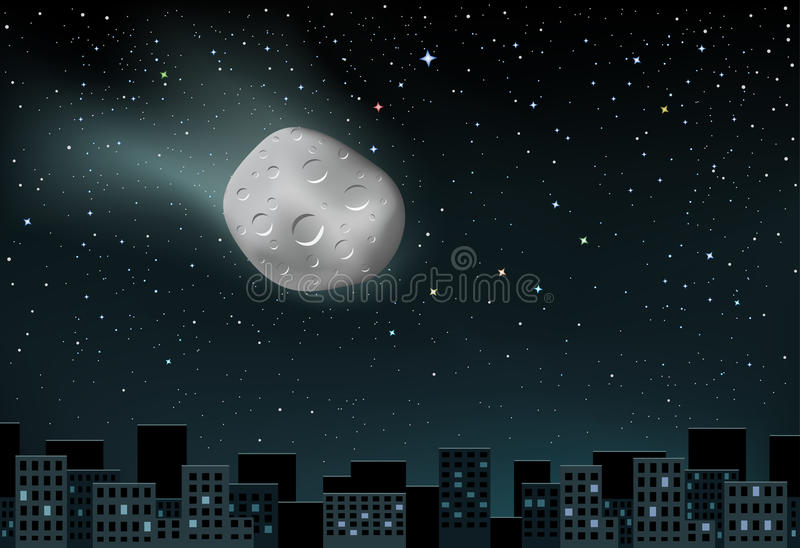 Meteorite falls over the city royalty free illustration