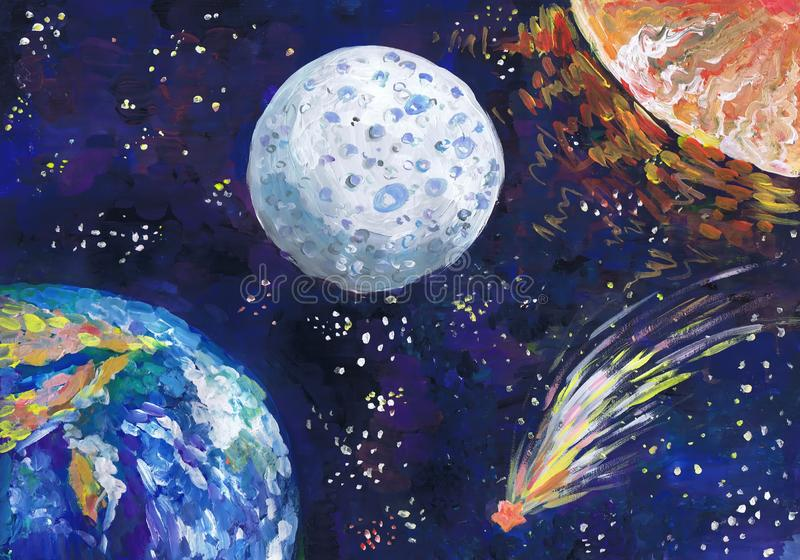 The meteorite flies among planets in space. Children`s drawing stock photos