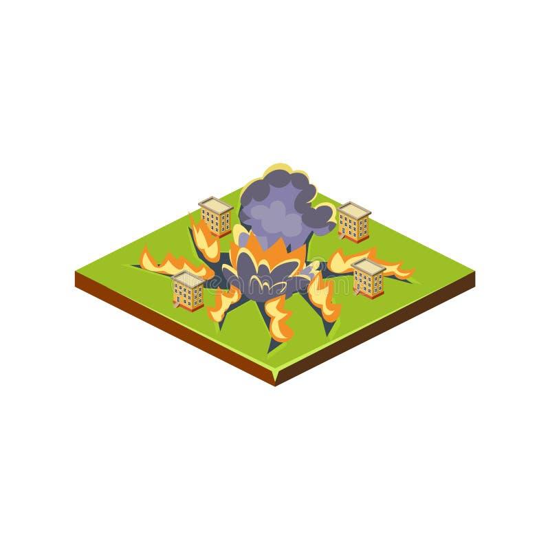 meteorite Naturkatastrofsymbol också vektor för coreldrawillustration stock illustrationer