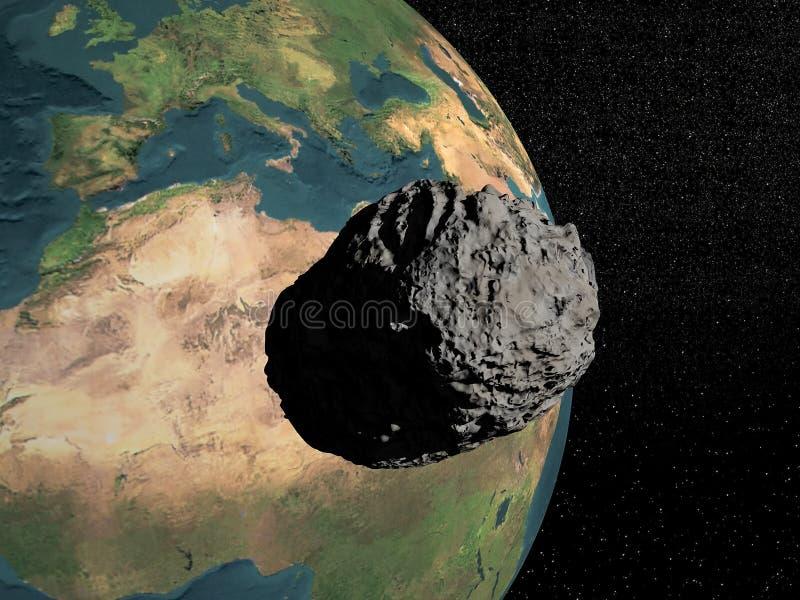 Meteorite som går till jord vektor illustrationer