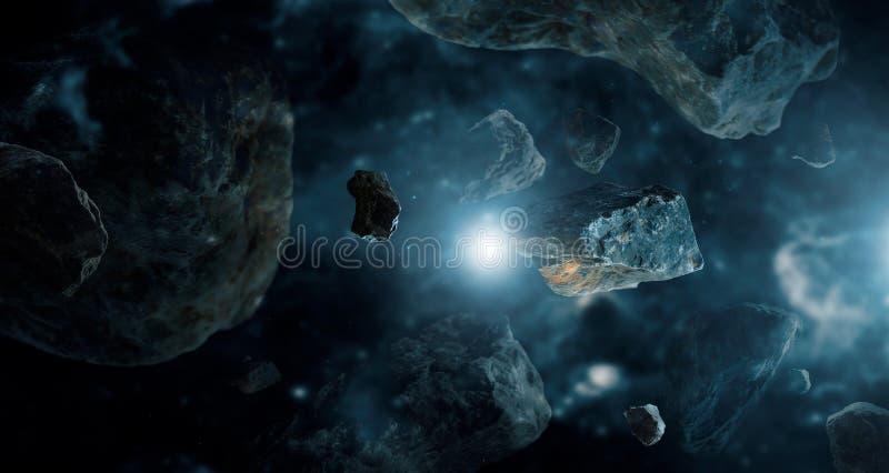 Meteoriter i planeter för djupt utrymme Asteroider i avlägsen solsystem royaltyfri bild