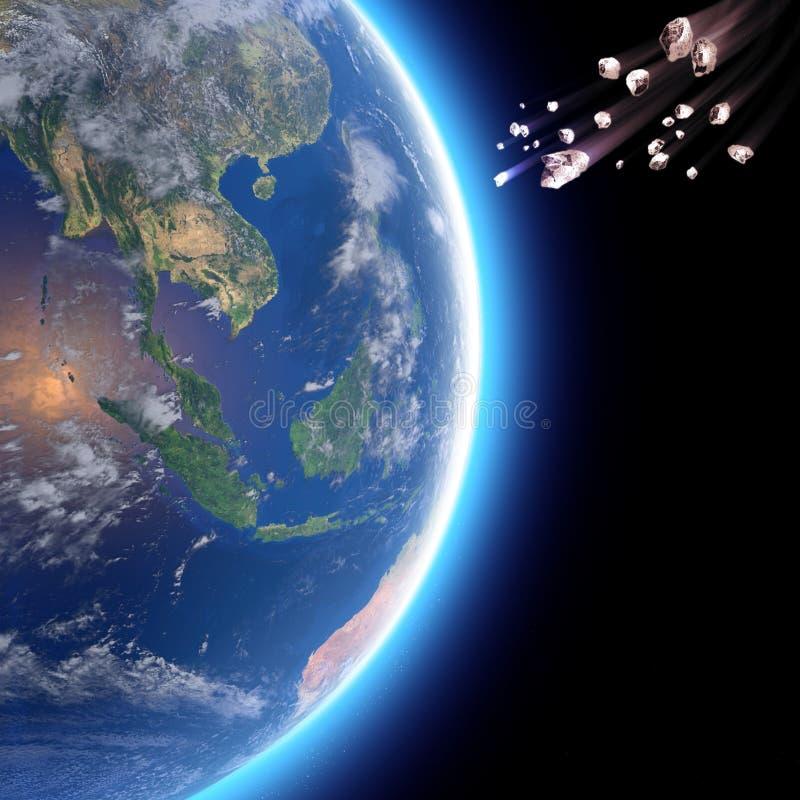 Meteoriti, asteroidi, comete della stella, frammenti di roccia, ghiaccio che rottura nell'atmosfera della terra Vista satellite d illustrazione vettoriale
