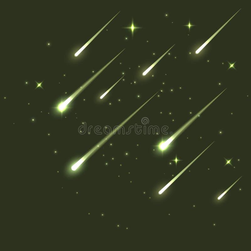 Meteorito de la estrella del vector que cae en oscuridad Cometa o fondo asteroide de la ciencia Ejemplo del fondo de la astronomí ilustración del vector