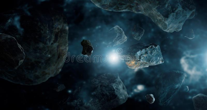 Meteorito em planetas do espaço profundo Asteroides no sistema solar distante imagem de stock royalty free