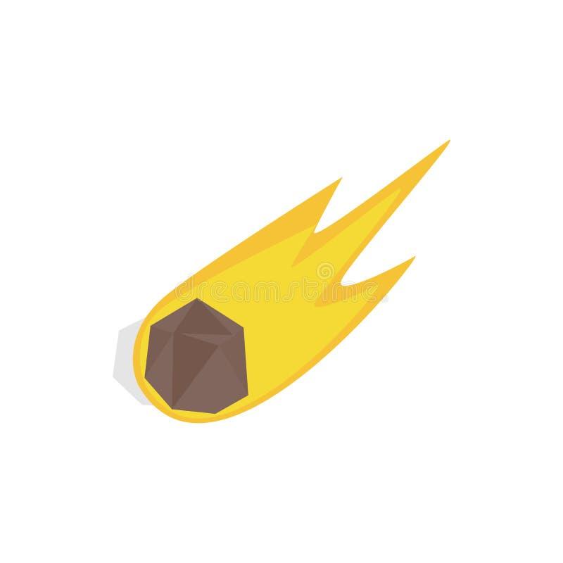 Meteorito que cae con el icono de la cola larga stock de ilustración