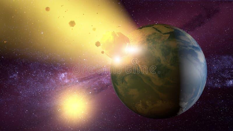 Meteorito que se estrella contra la tierra del planeta stock de ilustración