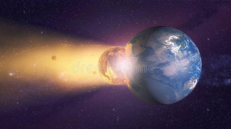 Meteorito que se estrella contra la tierra del planeta libre illustration