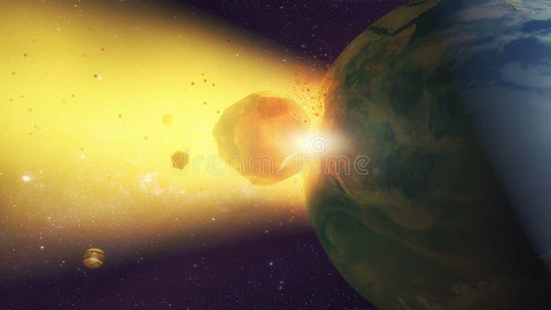Meteorito que se estrella contra la tierra del planeta ilustración del vector