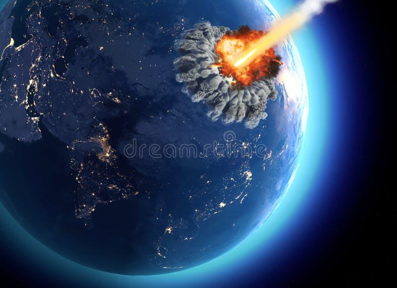 Meteoritos que golpearon la tierra Explosi?n, extremo del cataclismo del mundo Extinci?n global Bomba nuclear stock de ilustración