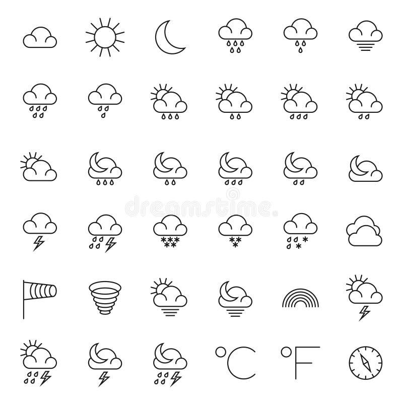Meteorologia symbole i pogodowego wektoru cienkie kreskowe ikony ustawiać ilustracja wektor