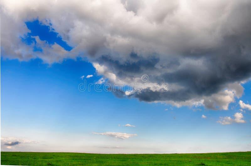 Meteorologiczny wizerunek - cumulusu congestus chmura nad zieloną łąką w lecie przy światłem dziennym obrazy stock
