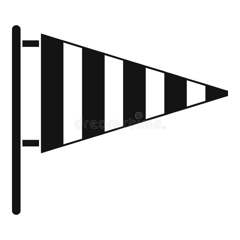Meteorologie Windsockikone, einfache schwarze Art stock abbildung