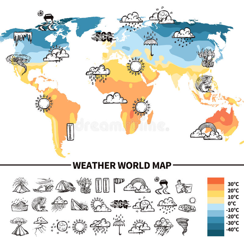 Meteorology Design Concept. With sketch weather forecast symbols on world map vector illustration stock illustration