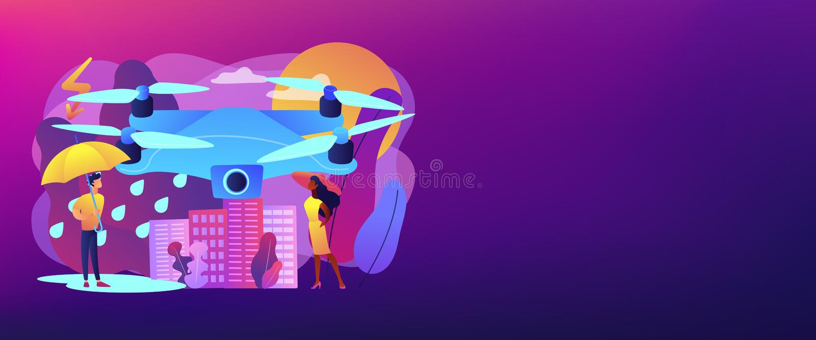 Meteorology drones concept banner header. Drone over the city collecting meteorological data. Meteorology drones, meteorological data collection, accurate stock illustration