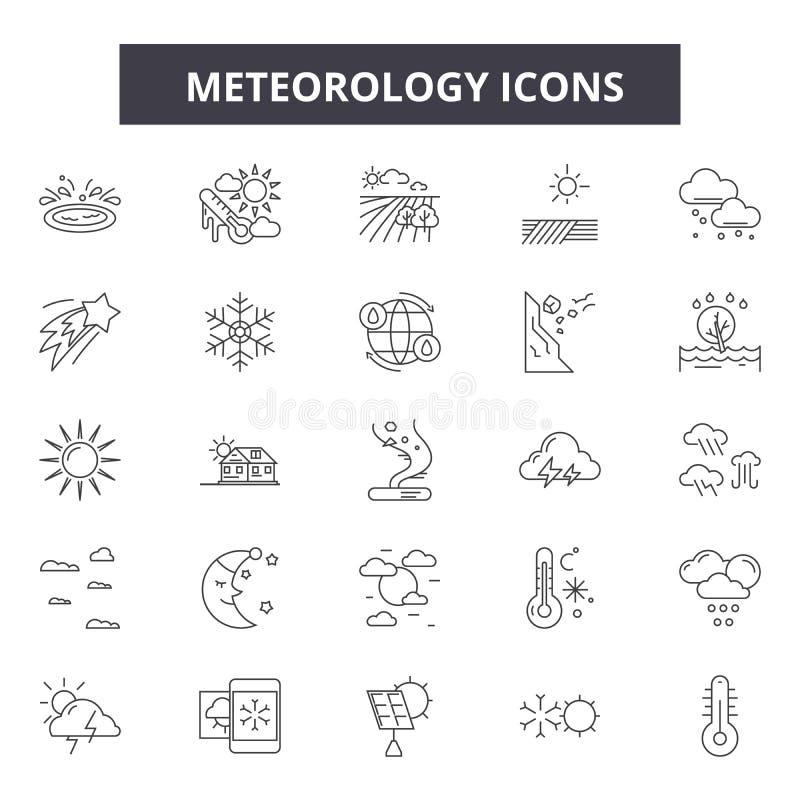 Meteorology line icons, signs, vector set, linear concept, outline illustration. Meteorology line icons, signs, vector set, outline concept linear illustration royalty free illustration