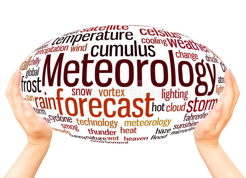 Meteorology word cloud hand sphere concept. On white background stock illustration