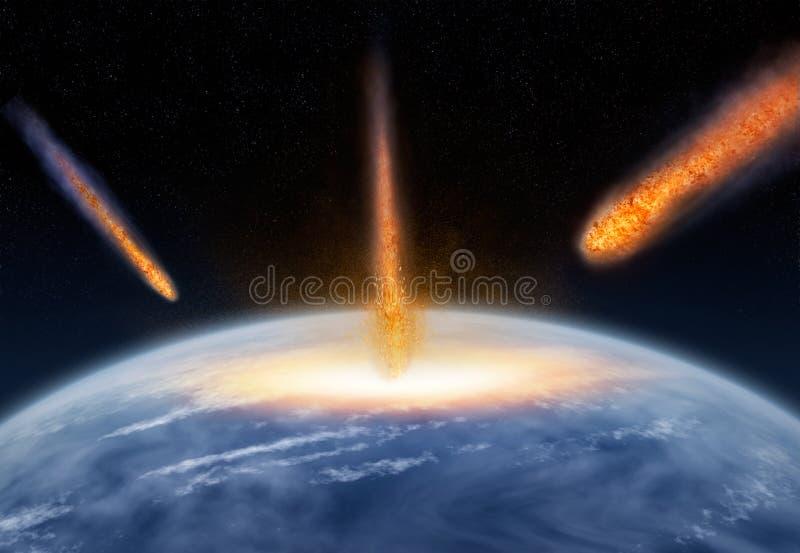 Meteoros que batem a terra ilustração do vetor