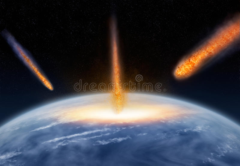 Meteors hitting the Earth stock images