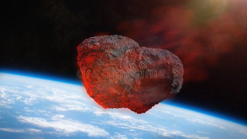 Meteorschauer, Meteoriteneinschlag auf Raumillustration der Planetenerde 3d lizenzfreie abbildung