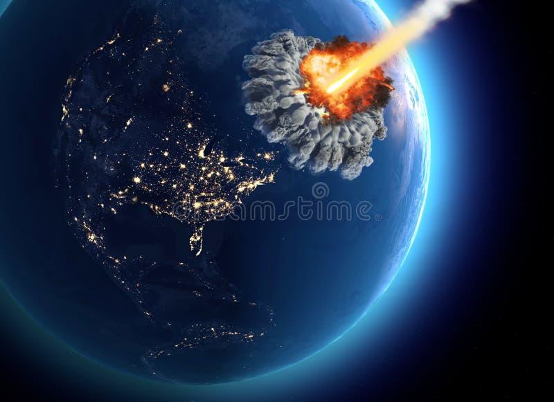 Meteoryty które uderzają ziemię Wybuch, kataklizmu świat końcówka Globalny wygaśnięcie Jądrowa bomba ilustracji