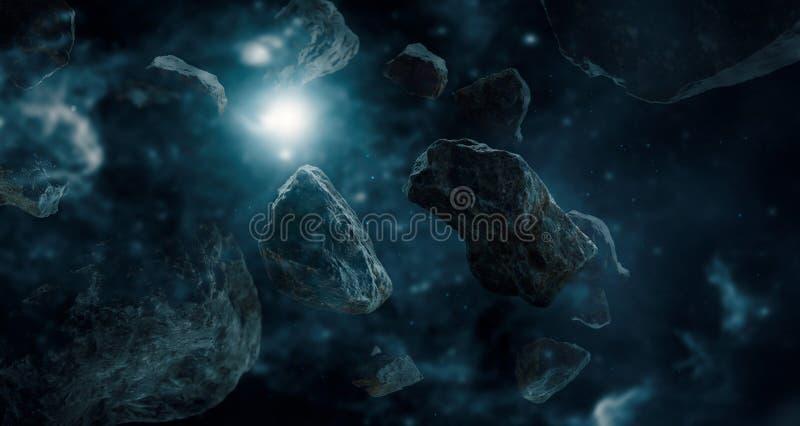 Meteoryty w głębokiej przestrzeni planetach Nauki fikci pojęcie ilustracja wektor