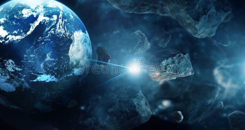 Meteoryty w g??bokiej przestrzeni planetach Asteroidy w odleg?ym uk?adzie s?onecznym Nauki fikci poj?cie obraz royalty free