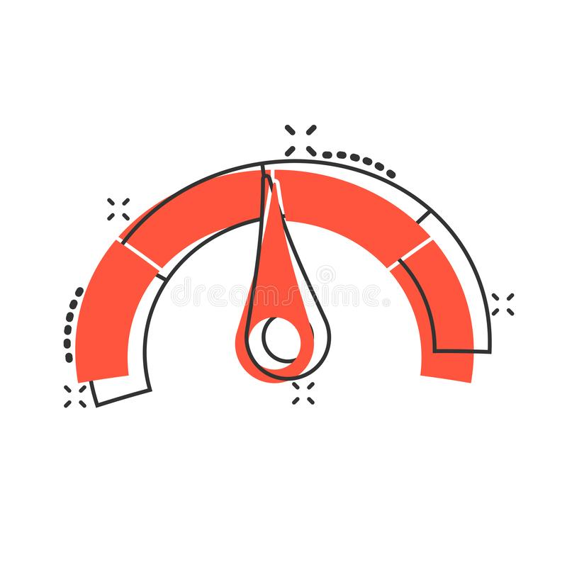 Meter Dashboard Icon In Flat Style. Credit Score Indicator
