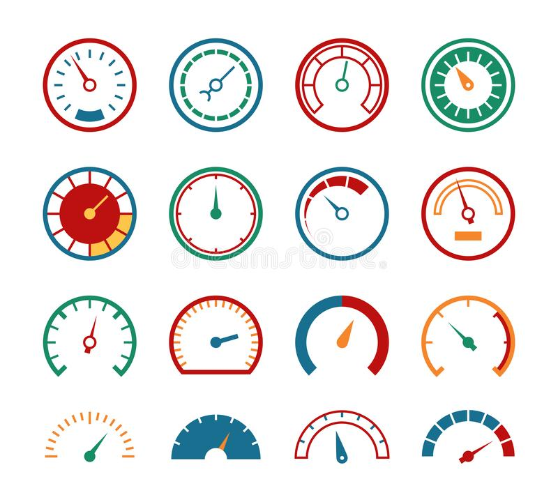 Meter set. Measuring instruments control fuel speedometer pressure barometer dial benchmark tachometer gauge speed icons. Meter set. Measuring instruments stock illustration