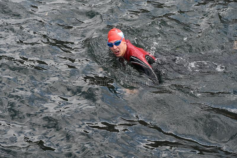 800 METER SWIMMING SPORTS. Copenhagen/Denmark 25.August 2018_ 800 meter swimming sport marathon in around Copenhagen habours canal today on saturday. . Photo stock photos