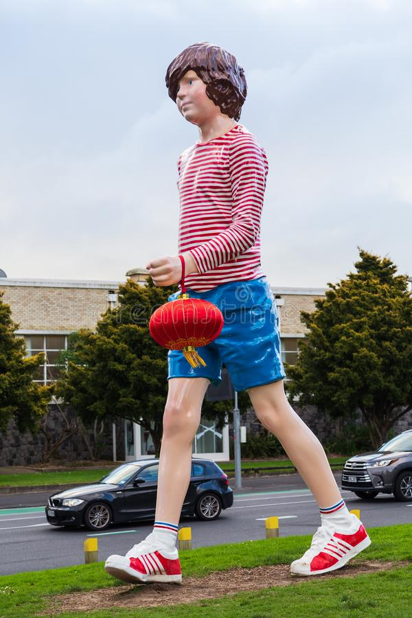 Giant `Boy Walking` statue, Auckland, New Zealand royalty free stock images