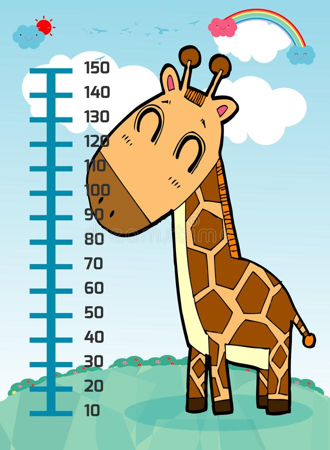 Meter wall with giraffe. Cheerful funny giraffe height. wall height meter with cute smiling african animal.vector illustration. Meter wall with giraffe royalty free illustration