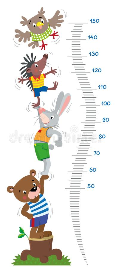 Meter wall or height chart with funny animals. Meter wall or height meter with funny bear, rabbit, hedgehog and owl. Height chart or wall sticker. Childrens stock illustration