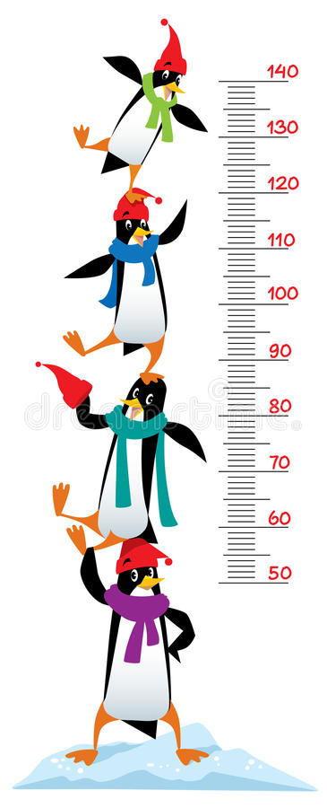Meter wall or height chart with Funny penguins. Meter wall or height meter of funny penguins in beanie or cap with pompom or bobble, in scarves, on the ice rock royalty free illustration